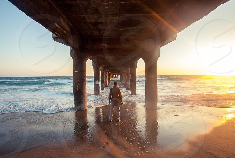 California Pacific Ocean west coast sunset waves photo