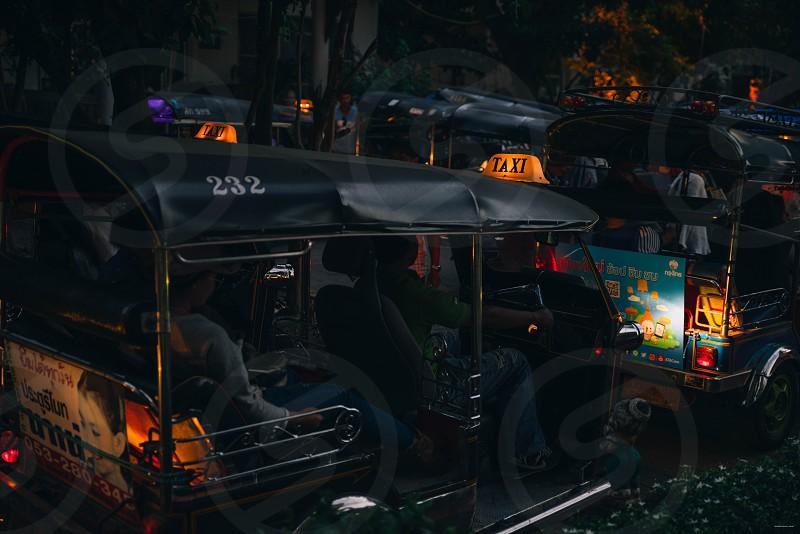 Tuc tuc traffic jam in Chiang Mai Thailand. photo