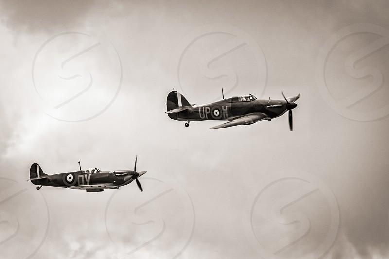 Hawker Hurricane I R4118 and Spitfire Mk IXT PV202 QV photo