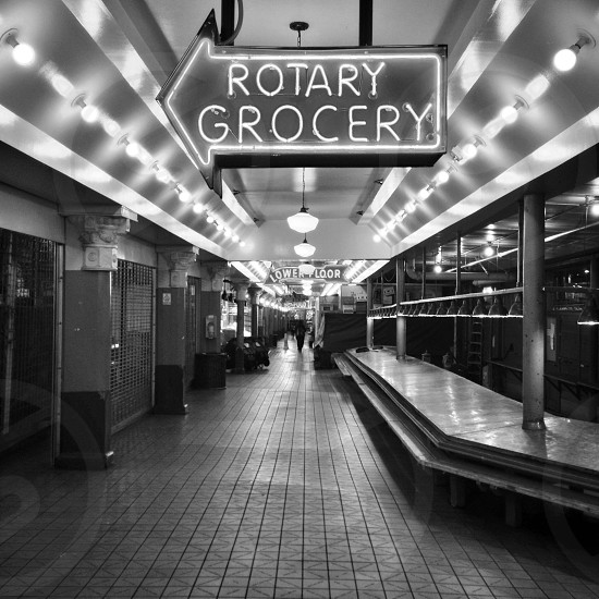 Seattle's Pike Place Market at night. photo