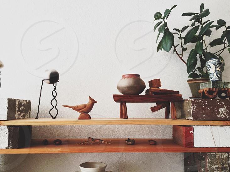 brown wooden multi function shelf  photo