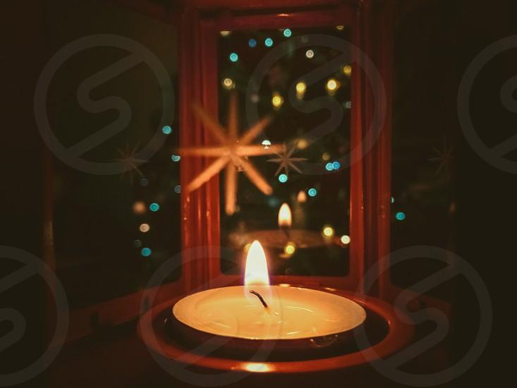 Christmas time decoration lantern light warm cozy candle photo