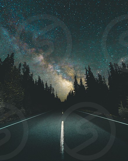 astrophotography Milky Way stars landscape Pacific Northwest Oregon road trip center of the road wilderness nature adventure travel lifestyle photo