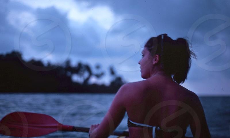 Kayaking at dusk in Thailand  photo