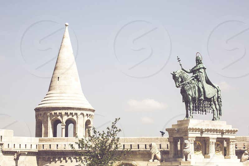 Equestrian statue of King Saint Stephen in Budapest Hungary photo