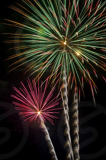 green and red fireworks display photo