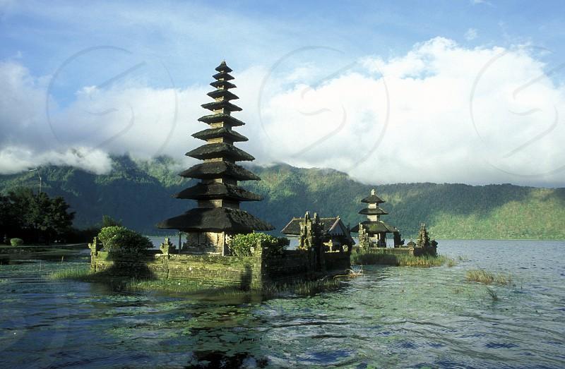 the temple of Bratan Lake in Candikuning in Bali in Indonesia photo