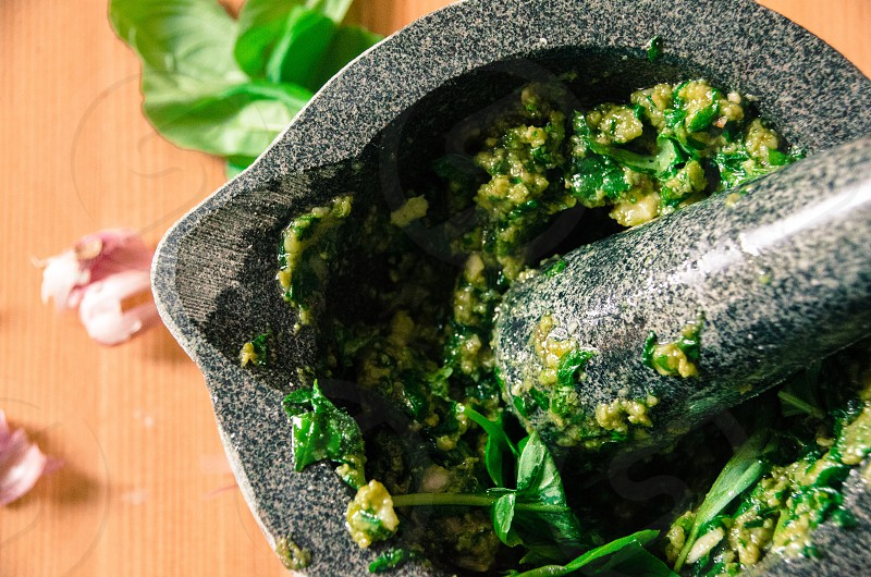 Fresh pesto basil pestle and mortar kitchen photo