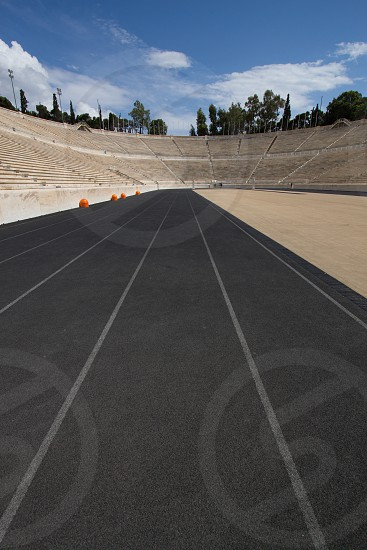 Racers view on track at Panathenaic Stadium in Athens Greece photo