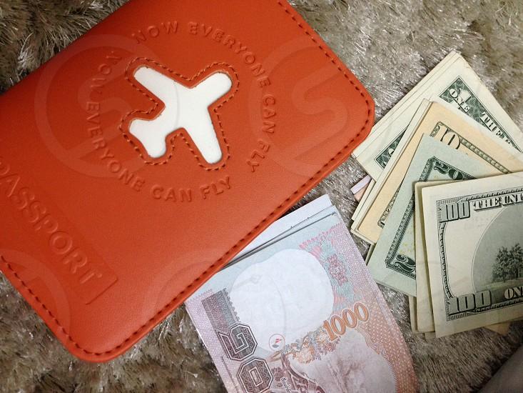 Travel passport money currency photo