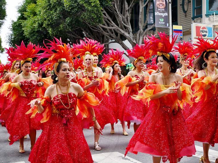 Women marching in the Carnival parade in San Francisco  photo