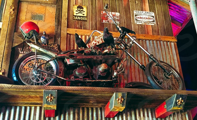 Motorcycle chopper on display photo
