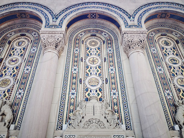 The Home of Congregation Redeph Shalom North Broad Street Philadelphia. Inspired by the great Synagogue of Florence Italy it is one of the only synagogues in the United States that retains the Byzantine-Moorish style.  architecture mosaic tile columns marble city urban temple synagogue jewish historic. photo