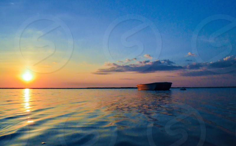 Harbor sunset Summer Nantucket boat dingy light evening photo