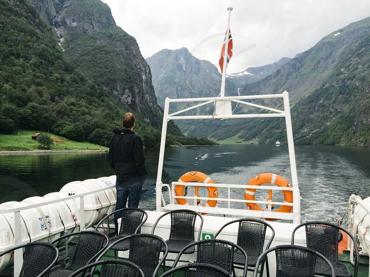Norway fjord boat ferry man scenery landscape photo