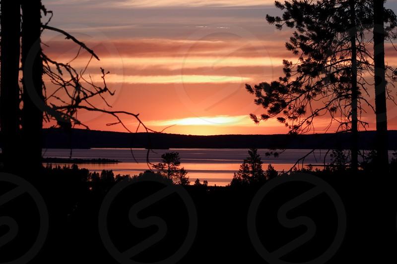 Midsummer sunset in Finland photo