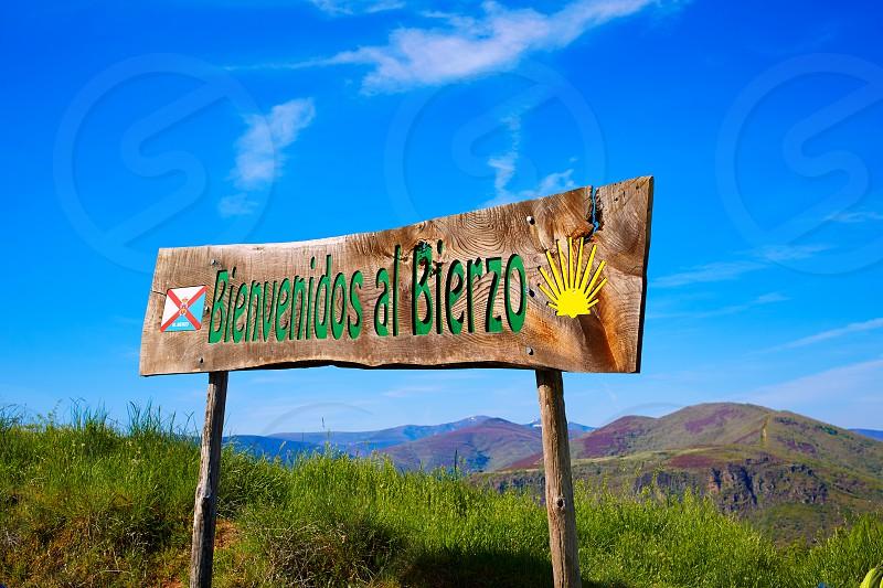 Way of Saint James welcome sign to El Bierzo of Leon in Castilla Spain photo