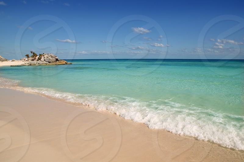 Caribbean Mexico Tulum turquoise tropical beach blue sky vacation    photo