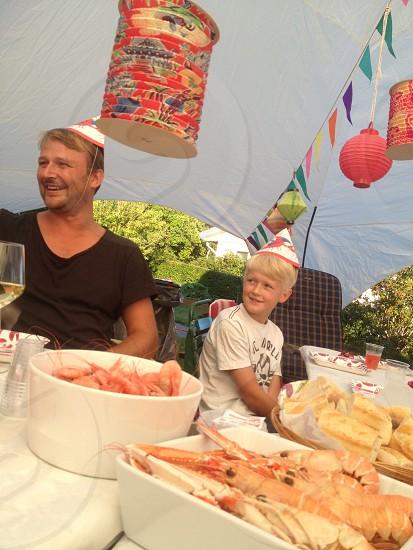 Swedish seafood crayfish garden party photo