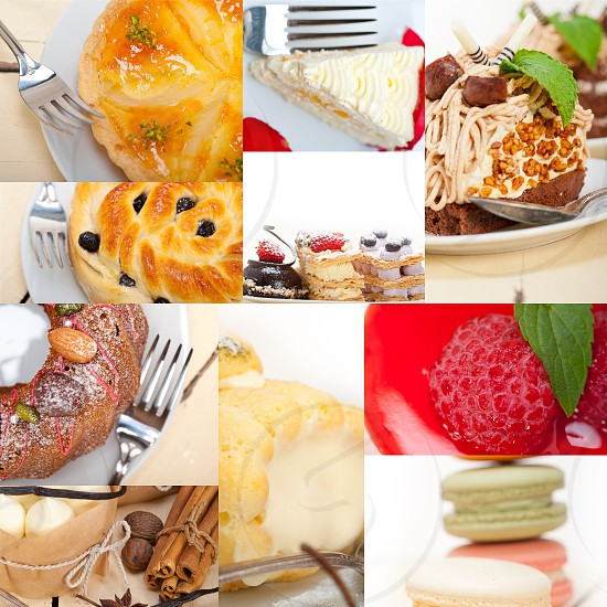 fresh colorful delicious homemade dessert cake selection composition collage  photo