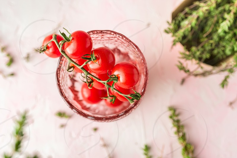 Cherry tomatoes and thyme photo