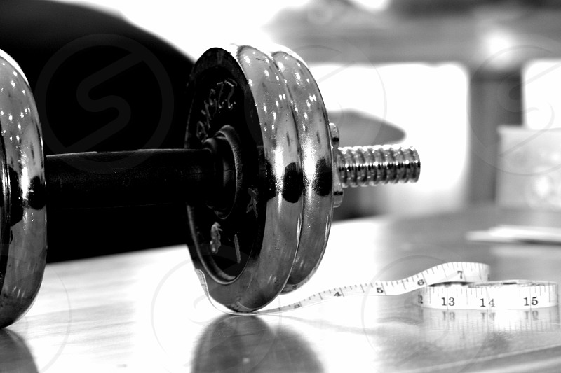 weight met measurement black & white fitness photo