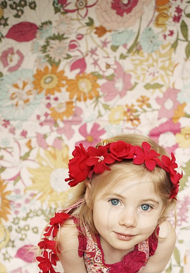little girl flowers colorful vibrant playful kid child fun photo