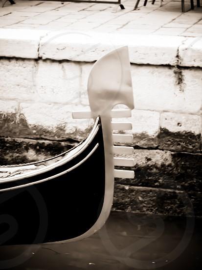 Black and white datail of venetian gondola. photo