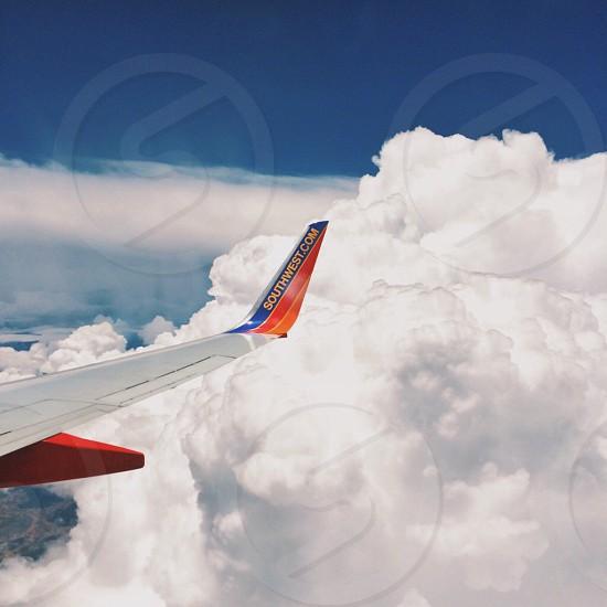 southwest airplane on sky photo