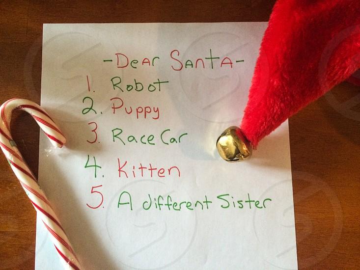 Christmas list Santa holiday funny photo