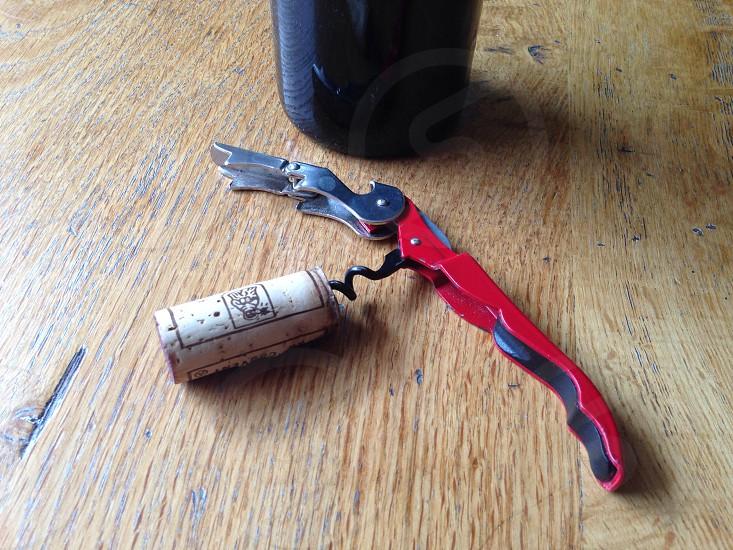 Open wine corkscrew  photo