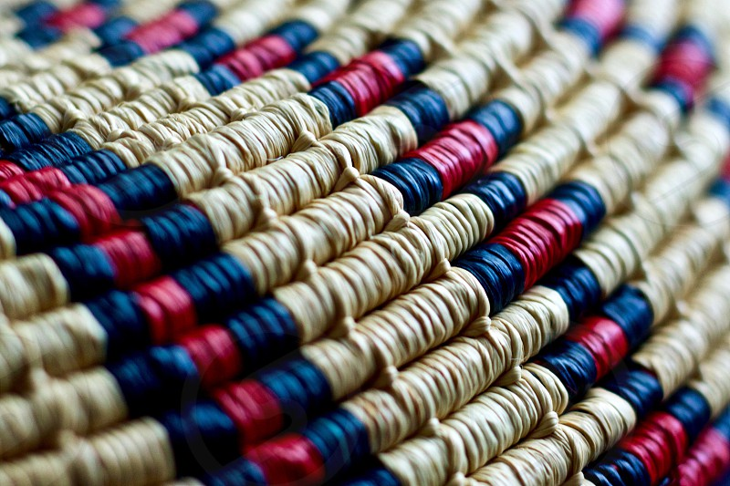 Handwoven Native American basket detail closeup photo