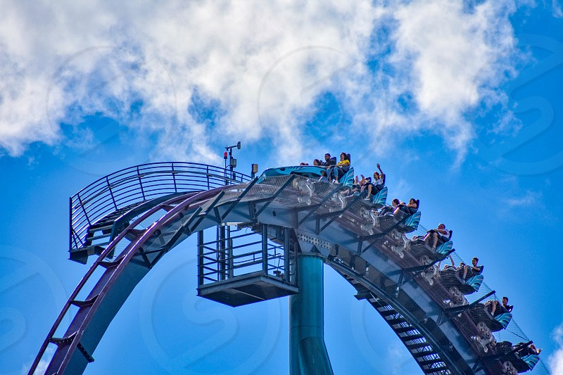 Orlando Florida. December 26 2018. People enjoying amazing rollercoaster ride at Seaworld in International Drive area (4) photo