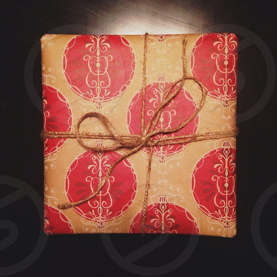 brown and red gift box photo