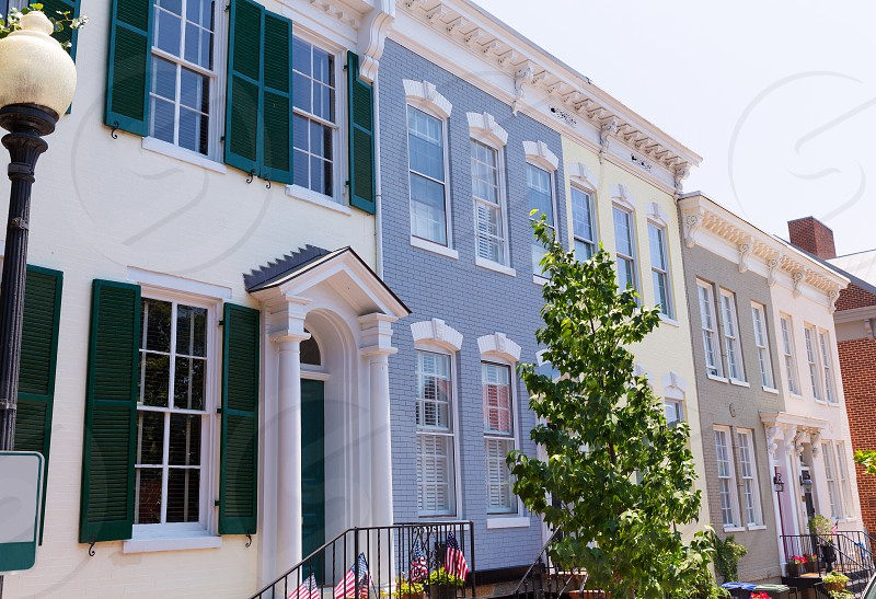 Georgetown historical district townhouses facades Washington DC in USA photo
