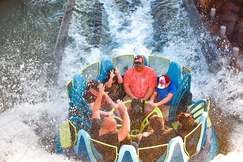 Orlando Florida. January 19 2019. People having fun river attraction ride Infinity Falls at Seaworld Marine Theme Park (3) photo