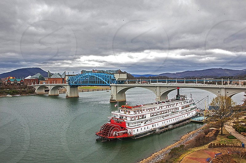 Delta Queen River Boat in Chattanooga TN - stationed at Coolidge Park off Walnut Street Bridge. photo