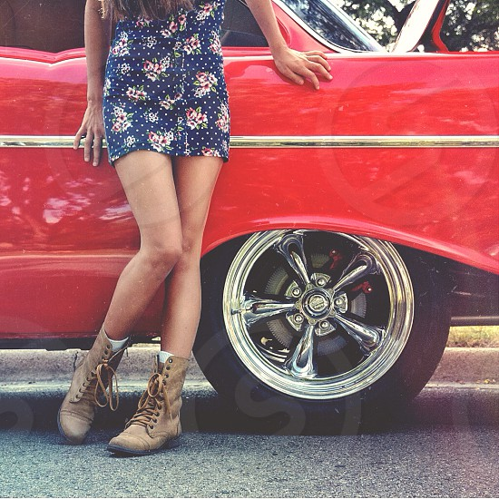 Vintage red car and girl photo