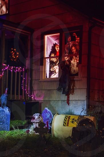 Zombie Halloween yard decoration spooky night  photo