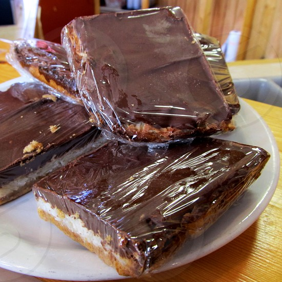 Cellophane wrapped triple layer bars photo