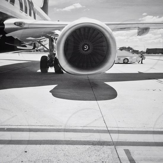 white plane turbine photo