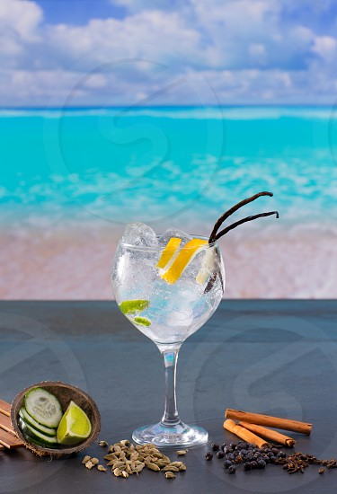 Gin tonic cocktail with spices in  tropical turquoise Caribbean beach photo