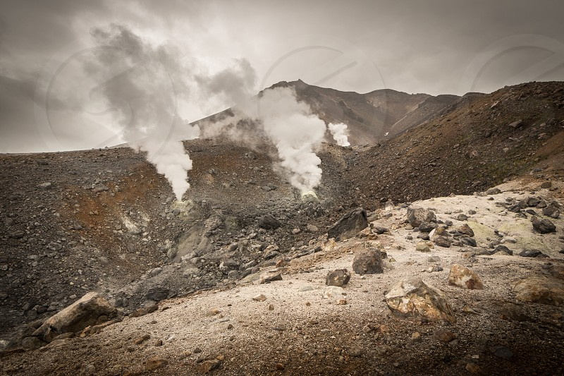 Slope of the volcano Asahi in Daisetsuzan mountain range - central Hokkaido Japan. photo