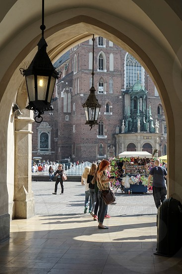 View of Market Square from the Cloth Hall in Krakow photo