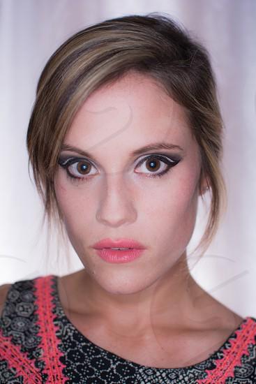 model beautiful makeup artist cateye photo