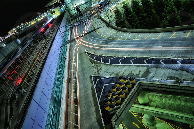 time lapse photography of aerial view on asphalt road during nighttime photo