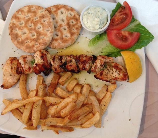 Chicken kebab Acropolis restaurant Athens Greece photo