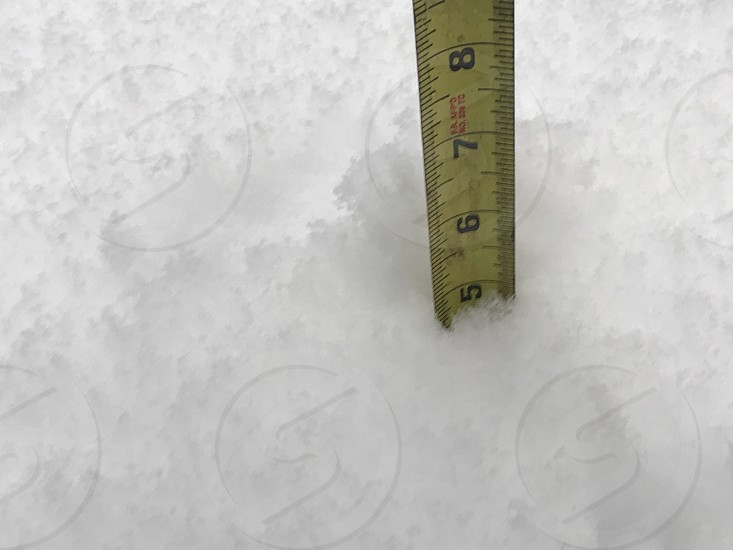 Snow cold white inches numbers Ruler  photo