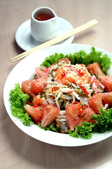 asian food korean vietnamese japanese chinese filipino salad pomelo lettuce appetizer meal snack lunch dinner chopsticks vegetables health diet nutrition protein viand photo