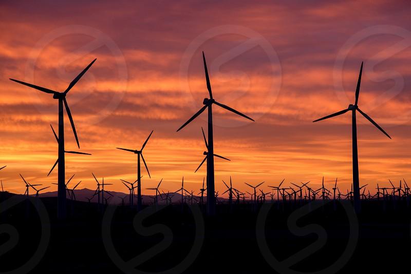 Windmill sunrise field turbine wind photo